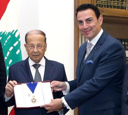 The President of Lebanon General Michel Aoun receiving the Order of Saint Michael