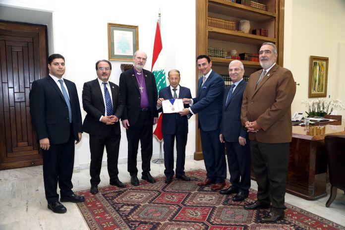 TIRH, Sheikh Camil. Sheikh Dr. Elie, Prof. Schirrmacher, HE General Michel Aoun the President of Lebanon, HIRH Prince Gharios, Sheikh Dr. Naji and HIRH Prince Cheikh Selim