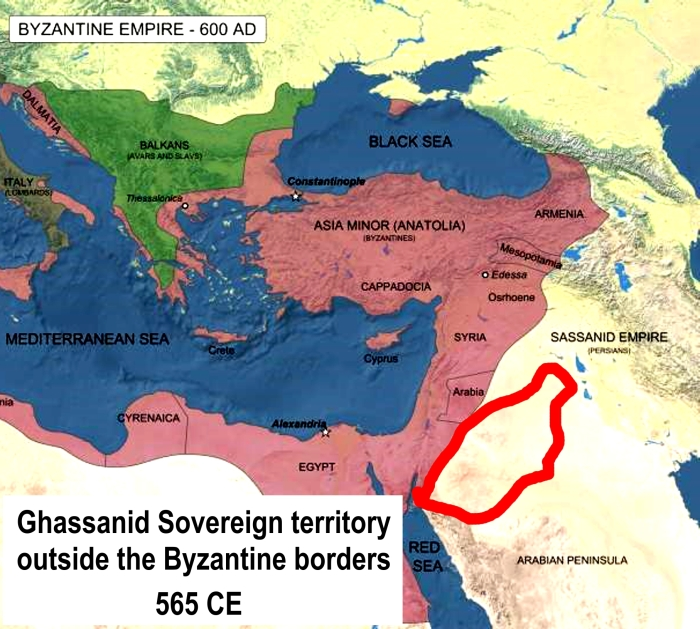 ghassanid roman byzantine empire map 600