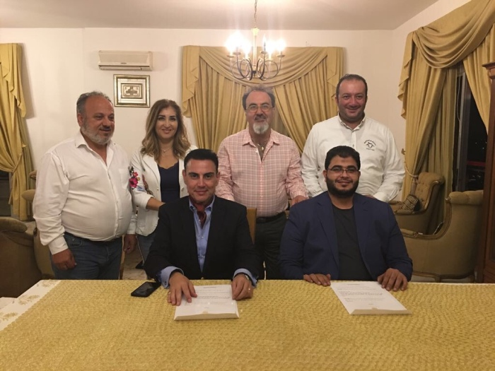 Behind the signatories, the team of the Royal House of Ghassan in Lebanon